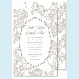 Pewter Wood Cut Floral Large Flat Invitation - click to enlarge