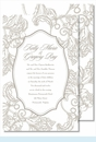 Pewter Wood Cut Floral Large Flat Invitation