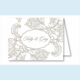 Pewter Wood Cut Floral Note Cards - click to enlarge