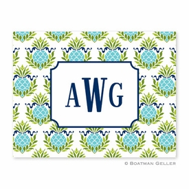Pineapple Repeat Teal Folded Notes (set/25) - click to enlarge