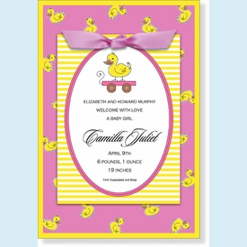 Pink and Yellow Ducky Topper Invitation - click to enlarge