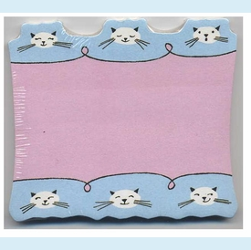 Pink/Blue Cats Die-cut Sticky Notes - click to enlarge