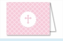Pink Cross Diamond Pattern Note Cards