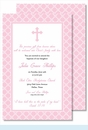 Pink Cross with Diamond Pattern Large Flat Invitation