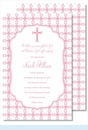 Pink Cross with Tile Pattern                                                                                                                                                                                                                                                                                                                                                                                                                                                                          Large Flat Invitation