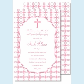Pink Cross with Tile Pattern                                                                                                                                                                                                                                                                                                                                                                                                                                                                          Large Flat Invitation - click to enlarge