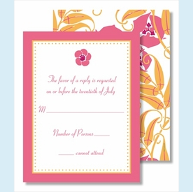 Pink Flower Pink Border Small Flat Cards - click to enlarge
