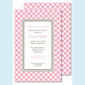 Pink Gingham Large Flat Invitation - click to enlarge