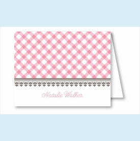 Pink Gingham Note Cards - click to enlarge