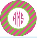 Pink/Green Diagonal Personalized Magnet