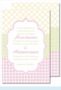 Pink/Green/Yellow Crazy Quilt Large Flat Invitation