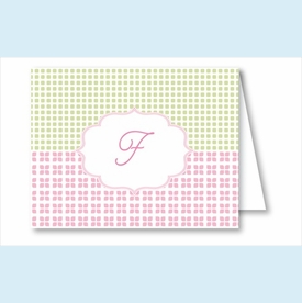 Pink/Green/Yellow Crazy Quilt Note Cards - click to enlarge