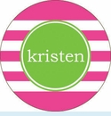 Pink Horiz. Stripe Personalized Magnet