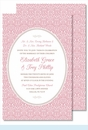 Pink Ornate Floral Large Flat Invitation