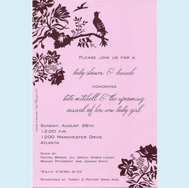 Pink Perched Bird Invitation - click to enlarge