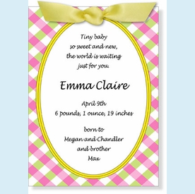 Pink Plaid Oval with Ribbon Invitation - click to enlarge