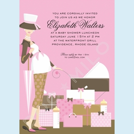 Pink Stroller Pregnant Mama Invitation - click to enlarge
