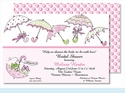 Pink Umbrellas Large Flat Invitation