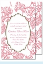 Pink Wood Cut Floral Large Flat Invitation
