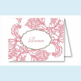 Pink Wood Cut Floral Note Cards - click to enlarge