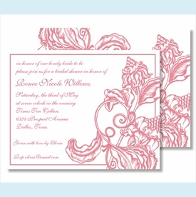 Pink Wood Cut Floral Small Flat Cards - click to enlarge