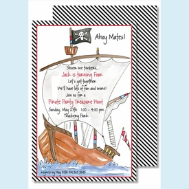 Pirate Ship Large Flat Invitation - click to enlarge