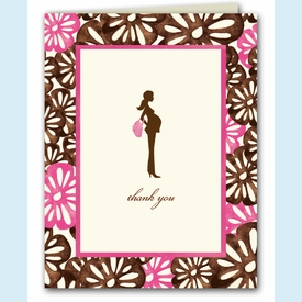 Pretty and Pregnant Floral Thank You Notes - click to enlarge