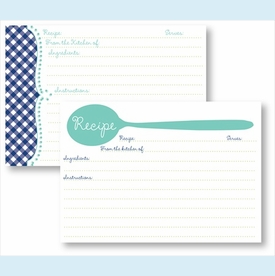 Recipe Box - Turquoise Spoon & Navy Gingham - click to enlarge