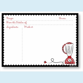 Recipe Cards - Blender w/ Black Scalloped Edge - click to enlarge