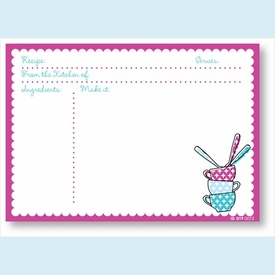 Recipe Cards - Cups & Spoons w/ Fuchsia Scalloped Border - click to enlarge