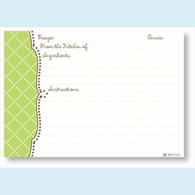 Recipe Cards - Lime Diamond Scalloped Edge - click to enlarge
