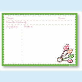 Recipe Cards - Measuring Spoons w/ Kelly Scalloped Border - click to enlarge