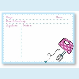 Recipe Cards - Mixer w/ Light Blue Scalloped Border - click to enlarge