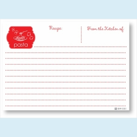 Recipe Cards - Pasta, Red - click to enlarge