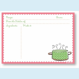 Recipe Cards - Pot w/ Pink Scalloped Border - click to enlarge