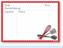Recipe Cards - Utensils w/ Red Scalloped Border