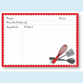 Recipe Cards - Utensils w/ Red Scalloped Border - click to enlarge
