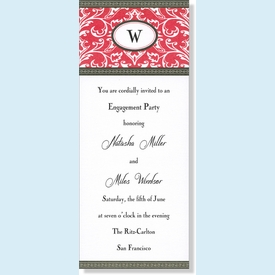Red Damask Tall Card Invitation - click to enlarge