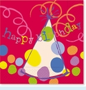 Red Happy Birthday Hats Lunch Napkins