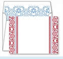 Red Oriental Border Small Flat Cards w/Coordinating Liner