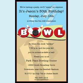 Rockin' Bowling Invitation - click to enlarge