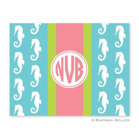 Seahorse Ribbon in Teal Folded Notes (set/25) - click to enlarge