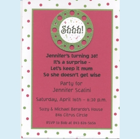Shhh!...Fuschia with Dots Invitation - click to enlarge