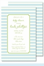 Simple Blue/Lime Stripes Large Flat Invitation