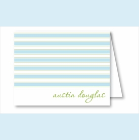 Simple Blue/Lime Stripes Note Cards - click to enlarge