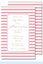 Simple Pink/Lime Stripes Large Flat Invitation