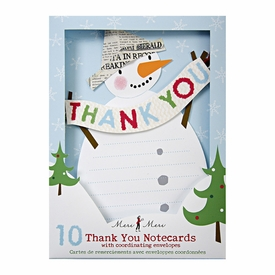 Snowman With Paper Hat Thank You Notes - click to enlarge