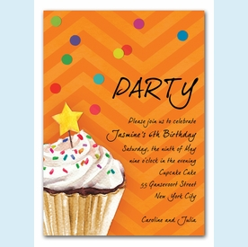 Sprinkles and Confetti Invitation (Orange) - click to enlarge