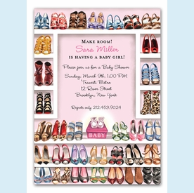 Stylish Shoe Closet Invitation (Baby Girl) - click to enlarge