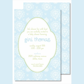 Sweet Blue Floral Large Flat Invitation - click to enlarge